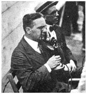 WJY (Hoboken, New Jersey) - Image: 1921 White and Welker ringside at WJY fight broadcast
