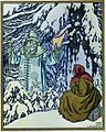"""Father Frost, a fairy tale character made of ice, acts as a donor in the Russian fairy tale """"Father Frost"""". He tests the heroine, a veiled young girl sitting in the snow, before bestowing riches upon her."""