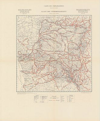 Colonization of the Congo - Map of explorations in the Congo (in the course of the 19th century)