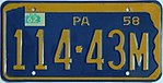 1958 Pennsylvania license plate 114-43M.jpg