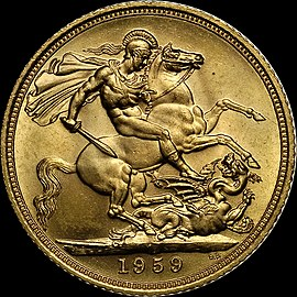 Saint George (here depicted on a British sovereign) is the patron saint of England. 1959 Elizabeth II sovereign reverse.jpg