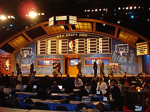 The draft board and stage pre draft.