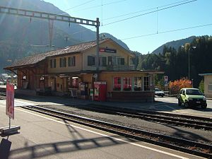 Tiefencastel (Rhaetian Railway station) - Platforms at Tiefencastel station