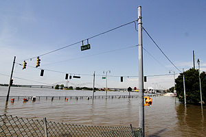 2011 Mississippi River floods - Flooding along Beale Street in downtown Memphis, Tennessee