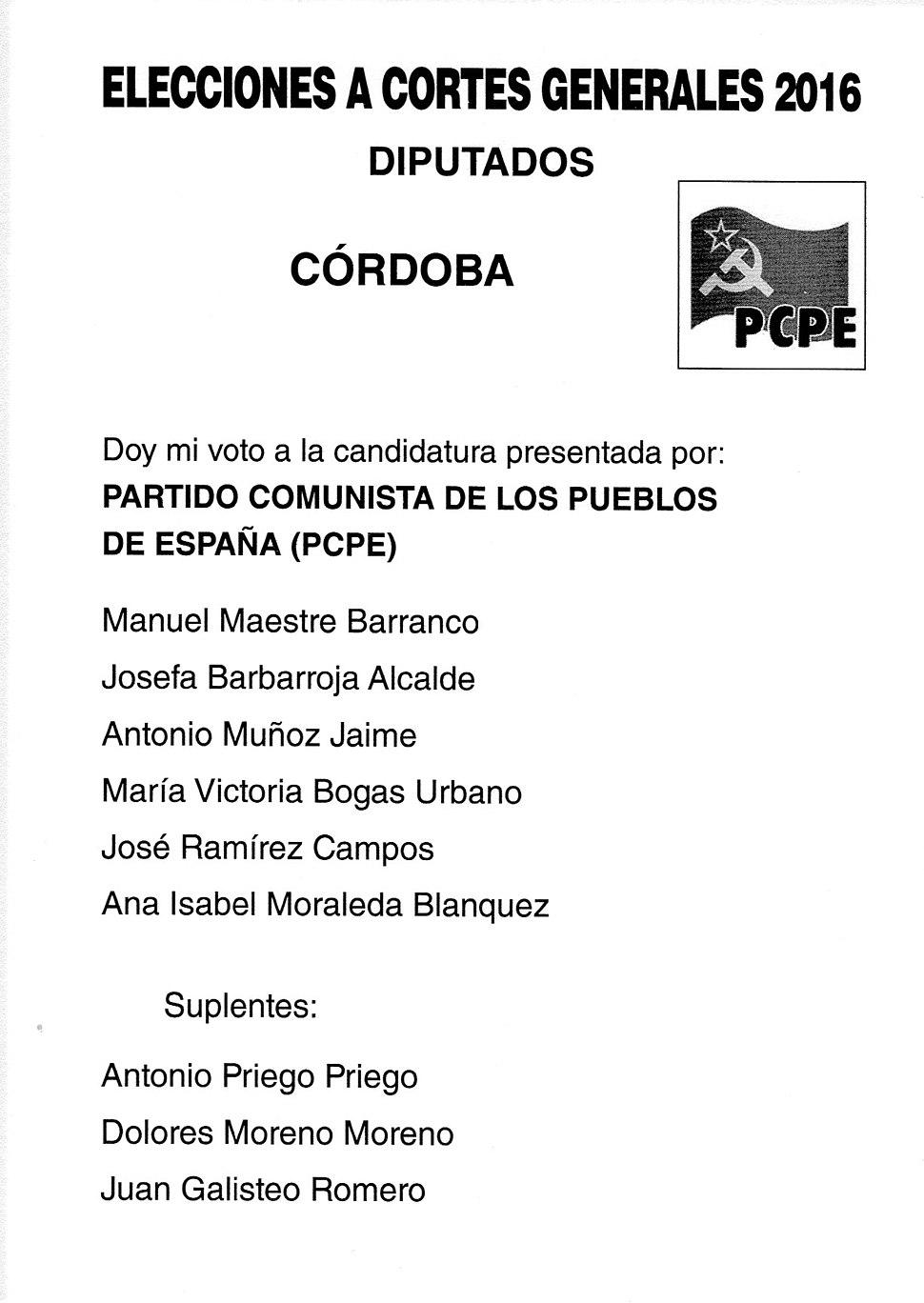 2016 Spanish General Elections Ballot - Cordoba - PCPE