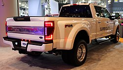 2020 Ford F-450 Limited Super Duty with Powerstroke Turbo Diesel engine, rear NYIAS 2019.jpg