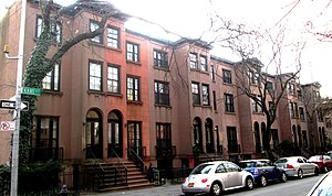 Cobble Hill, Brooklyn - Rowhouses on Kane Street between Clinton Street and Tompkins Place