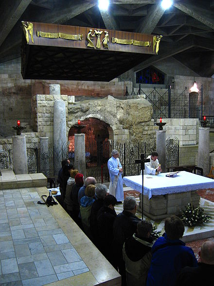 Mass in the Grotto of the Annunciation, Nazareth. 4200-20080119-0624UTC--nazareth-church-of-the-annunciation-grotto.jpg