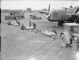 No. 58 Squadron RAF - Armourers prepare 500-lb GP bombs for Armstrong Whitworth Whitley of 58 Squadron at RAF Linton-on-Ouse