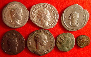 Antoninianus - Row 1: Elagabalus (silver 218-222), Trajan Decius (silver 249-251), Gallienus (billon 253-268 Asian mint) Row 2: Gallienus (copper 253-268), Aurelian (silvered 270-275), barbarous radiate (copper), barbarous radiate (copper)