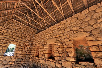Thatching - Inside view of an Inca roof in one of the few reconstructed buildings of Machu Picchu