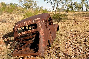 Mary Kathleen, Queensland - Rusted body of an abandoned Morris 8