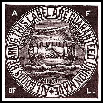 Labor history of the United States - The American Federation of Labor union label, c. 1900.