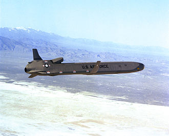 Air-launched cruise missile - An AGM-86 air-launched cruise missile in flight (1980)