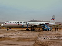 AIR KORYO FLIGHT JS5105 IL18 9835 AT ORANG MT CHILBO JUST ARRIVED FROM PYONGYANG SUNAN DPR KOREA OCT 2012 (8268927031).jpg