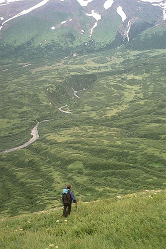 Alaska Peninsula - Hiker near Chiginagak Volcano