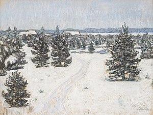 Pastel - Ants Laikmaa Taebla landscape from 1936.