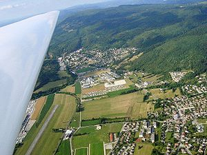 Arbent - Aerial view of Arbent with the aerodrome visible