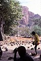 ASC Leiden - W.E.A. van Beek Collection - Dogon markets 01 - A schoolboy between the sitting stones of the Tireli market, Mali 1984.jpg