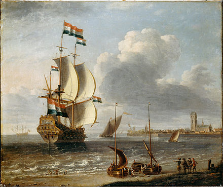 Dutch East India Company was the first-ever multinational corporation, financed by shares that established the first modern stock exchange. A Castro, Lorenzo - A Dutch East-Indiaman off Hoorn - Google Art Project.jpg