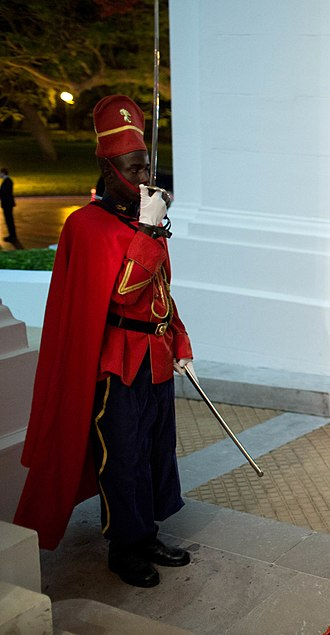 Present arms (command) - A Senegalese Red Guard presenting arms in June 2013.