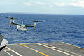 A U.S. Marine Corps MV-22 Osprey tiltrotor aircraft takes off after refueling operations on the aircraft carrier USS George Washington (CVN 73) during Operation Damayan in the Philippine Sea Nov. 17, 2013 131117-N-XN177-075.jpg