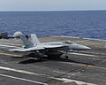 A U.S. navy F-A-18E Super Hornet aircraft assigned to Strike Fighter Squadron (VFA) 106 lands aboard the aircraft carrier USS George H.W. Bush (CVN 77) in the Atlantic Ocean June 5, 2013 130605-N-MW819-275.jpg