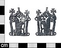 A complete Medieval lead alloy pilgrim badge depicting the Virgin Mary and child in an openwork design, dating AD 1450-1500. (FindID 805768).jpg