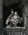 A family with a young child by an open window singing togeth Wellcome V0038702.jpg