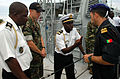 A group of Gabon, Portugal and U.S. sailors prepare to depart Port Gentil in a Gabonese patrol craft.jpg
