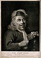 A man pouring the last drop from his wine glass. Mezzotint, Wellcome V0019550.jpg