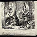 A man with a large barrel asking another man who is packing Wellcome V0020074.jpg