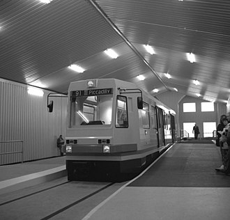 History of Manchester Metrolink - A pre production mock-up of a T-68 Metrolink vehicle on display in 1990