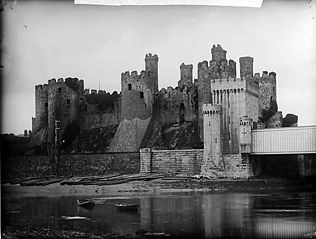 A view of Conwy castle from the shore
