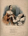 A young man lies dying, a woman weeps as she holds his hand, Wellcome V0015178.jpg