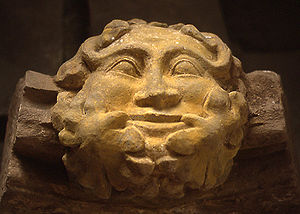 This stone carving of a Green Man from Dore Ab...
