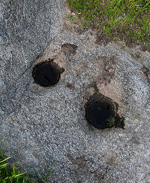 Acorn - Mortar holes for pounding acorns into flour, Lost Lake, California