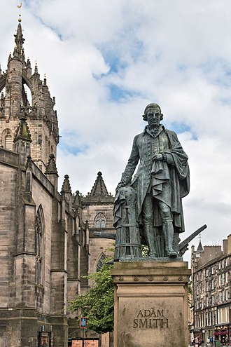 Adam Smith - A statue of Smith in Edinburgh's High Street, erected through private donations organised by the Adam Smith Institute