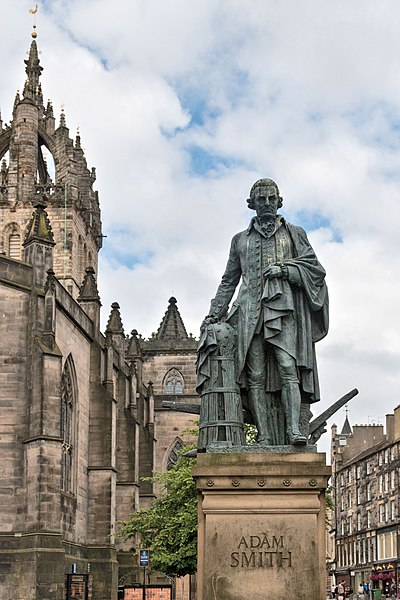 A statue of Smith in Edinburgh's High Street, erected through private donations organised by the Adam Smith Institute Adam Smith statue by Alexander Stoddart.jpg
