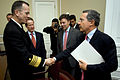 Adm. Michael G. Mullen and the president of Colombia Álvaro Uribe and Defense Minister Juan Manuel Santos.jpg