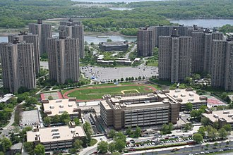 Harry S. Truman High School (Bronx) - Aerial view of Harry S Truman High School and Co-op City