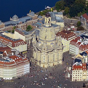 Dresden Frauenkirche - Aerial photo Church of Our Lady (Frauenkirche) in Dresden (photo 2008)
