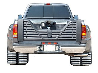 Mudflap - Dually pickup with louvered (vented) mudflaps and tailgate
