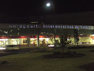 Toluca International Airport - Facade of the terminal at night