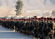 Afghan commandos stand in formation during the graduation of the 7th Commando Kandak