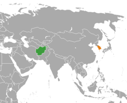 Map indicating locations of Afghanistan and South Korea