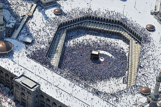 2010 Aerial view of the largest mosque in the world, The Sacred Mosque (Al-Masjid Al-Ḥarām) of Mecca in the Hejaz, present-day Saudi Arabia, with the Kaaba in the center