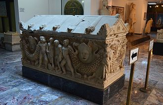 Afyonkarahisar Archaeological Museum - Ancient Roman (2nd century AD) sarcophagus of Apamea (Phrygia), today Dinar.