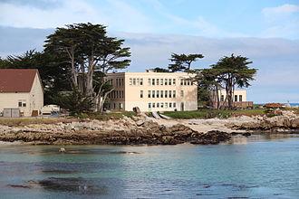 Hopkins Marine Station - Agassiz Building viewed from Monterey Bay Aquarium. Named after Alexander Agassiz