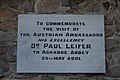 Aghaboe Priory of St. Canice Nave Plaque Dr. Paul Leifer 2010 09 02.jpg